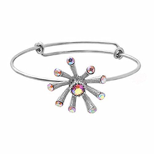 NOUMANDA Women Beautiful Colorful Crystal Dandelion Expandable Three Colors Wire Bracelet Bangles (silver)