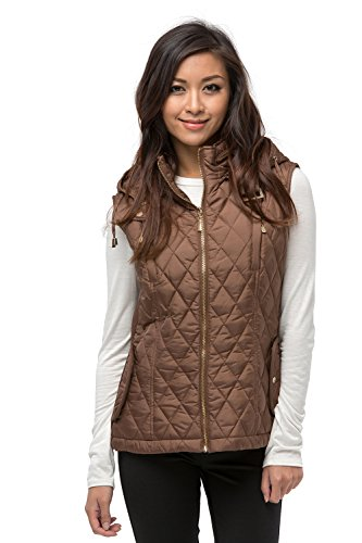 Daisy Women's Quilted Padding Jacket Vest W/ Detachable Hood (XL, MOCHA)