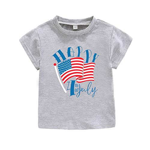 4TH of July Shirt Baby Boys Girls American Flag Happy Independence Day tees,Love USA Blue Red Stars Stripes Casual Tops Clothing for Little Kids (grag Happy,tag 120) ()