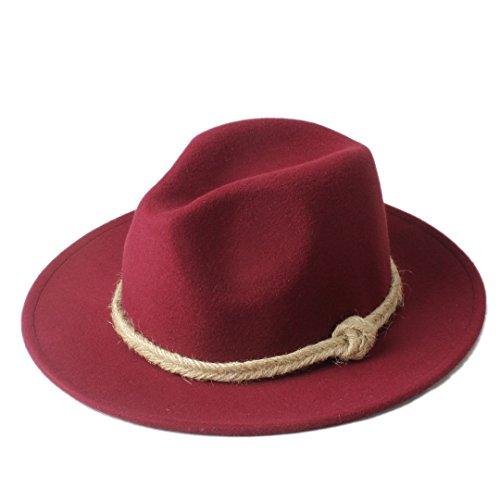 YUXUJ Women Winter Flat Brim Cowboy Hat Fedora Hat with Hemp Rope for Elegant Lady (Color : 5, Size : 57-58cm)