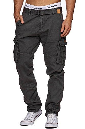 Indicode Homme William Pantalon Cargo en Coton avec 7 Poches avec Ceinture | Longues Regular Fit Cargo Pantalon en Coton…