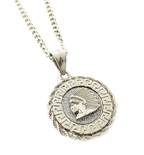Exo Jewel Native American Chief Mini Medallion Stainless Steel Pendant Necklace with 24