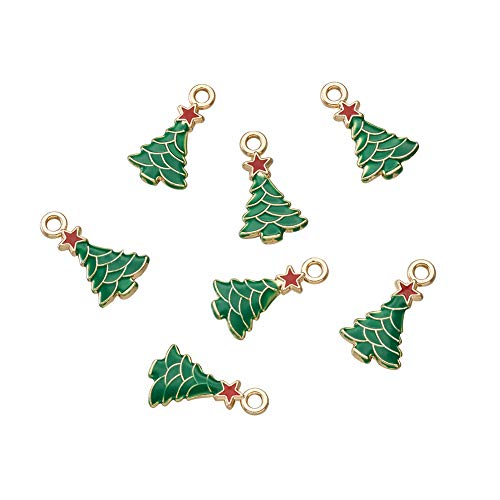 Christmas Tree Charm - Craftdady 10Pcs Christmas Tree Alloy Enamel Charms 20.5x11.5mm DIY Jewelry Necklace Earring Bracelet Christmas Gifts Decoration Craft Making Hanging Pendants