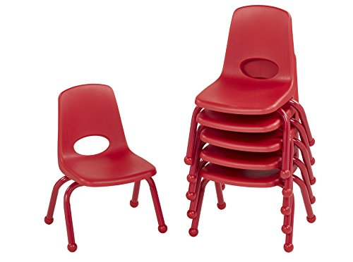 """ECR4Kids ECR4Kids 10"""" School Stack Chair with Powder Coated Legs and Ball Glides, Red (6-Pack) price tips cheap"""