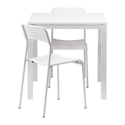 Ikea MELLTORP/ADDE - Mesa y 2 sillas, Blanco - 75 cm: Amazon.es: Hogar