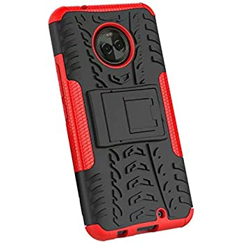 Yuanhuiheng Moto X4 Case, Rugged and Shockproof Case Double Armor Combination Cover, use PC+TPU Material Built-in Bracket Compatible Moto X4(Red)