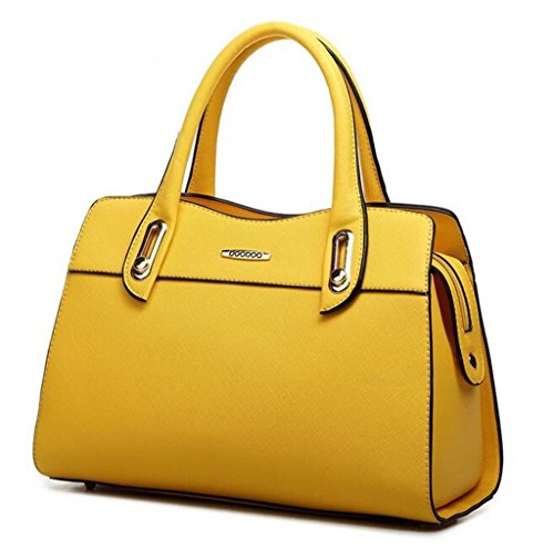 [Bagtopia Women's Fashion Elegant Leather Top-handle Handbags Office Lady Tote Purse with Shoulder] (Yellow Purses)