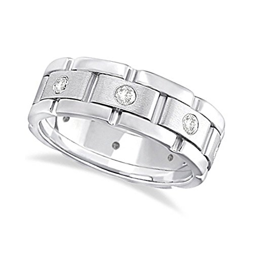 Mens Wide Band Diamond Eternity Wedding Ring 18kt White Gold (0.40ct) -