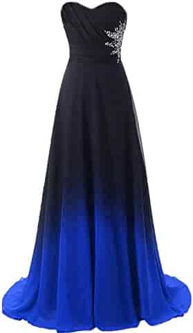 5cd846b3e10 ZVOCY Gradient Prom Dress Formal Evening Gowns Beaded Ombre Chiffon Long  Prom Party Dresses