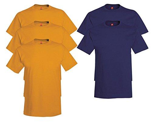 Hanes Mens Tagless Comfortsoft Crewneck T-shirt (Pack of 5) 3 Gold / 2 Navy