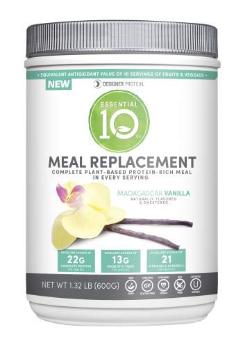 Designer Protein Essential 10 Meal Replacement 100% Plant Based Protein Madagascar Vanilla-540 Grams Powder (Pack of 12)