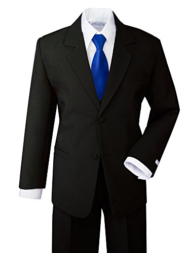 Clothes Black Tie (Spring Notion Boys' Formal Dress Suit Set 18 Black Suit Royal Blue Tie)