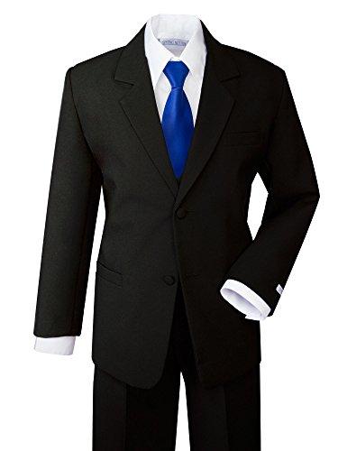 Tie Black Clothes (Spring Notion Boys' Formal Dress Suit Set 18 Black Suit Royal Blue Tie)