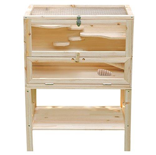 Songmics Hamsterkäfig Nagerkäfig Massivholz mit klappbarem Deckel, Stöckchen zum Nagen, 80 x 60 x 40 cm PHC002
