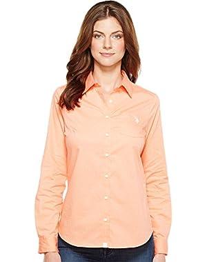 Women's Stretch Poplin Dot Print Woven Shirt