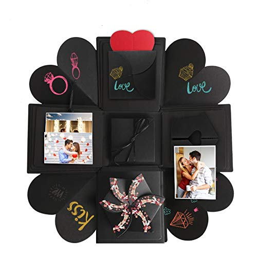 Somei DIY Creative Explosion Gift Box Kit Including Instruction, Surprise Scrapbook Photo Album for Propose Birthday Wedding Valentines Anniversary for Her Him Best Friend, Black ()