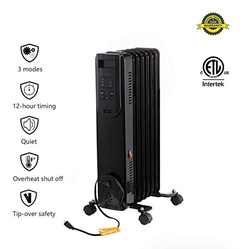 Ainfox Portable Oil Heater, 1500W Oil Filled Radiator Electric Space Heater with TIP-OVER Overheat Protection For Sale