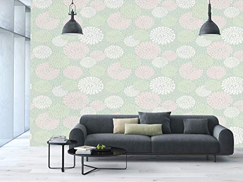 Funky Wall Mural Sticker [ Mint,Dahlia Flowers in Pastel Tones Spring Blooms Theme Floral Pattern,Almond Green White Light Pink ] Self-Adhesive Vinyl Wallpaper/Removable Modern Decorating Wall Art]()