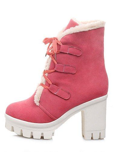 us6 Pink Robusto Eu36 Zapatos De us8 Casual Punta Mujer Xzz Rosa A La Cn36 Vellón Redonda Uk4 Pink Azul Eu39 Moda Cn39 Negro Botas Plataforma Vestido Tacón Uk6 Sg4nH4xW