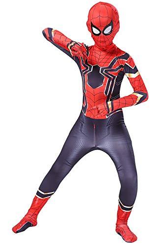 Kids Toddler Spider Verse Miles Morales Gwen Jumpsuit Bodysuit Black Spider Tights Zentai Costumes (Iron Spider, Child M/110-120 cm)