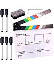 """Swpeet 8Pcs 10""""x12"""" Acrylic Film Movie Directors Clapboard Kit, Magnetic Blackboard Eraser, M3 Hex Wrench and 5Pcs Custom Pens Dry Erase Director Clapper Coating Board Slate for Director or Film Fans"""