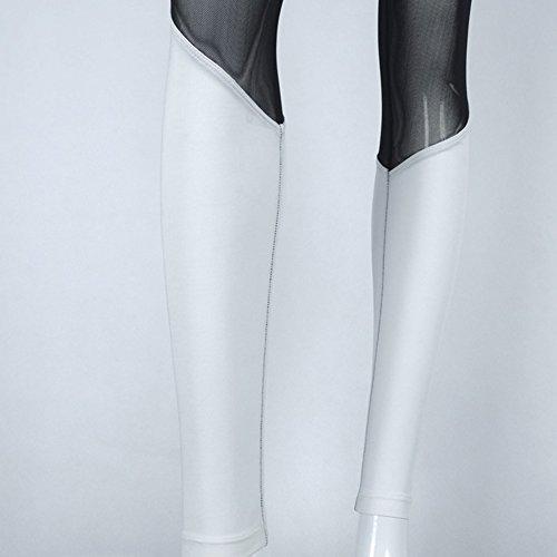 Mujer Pantalones Deportivos Y Elásticos De Yoga Mujer Polainas De La Cintura Alta Blanco