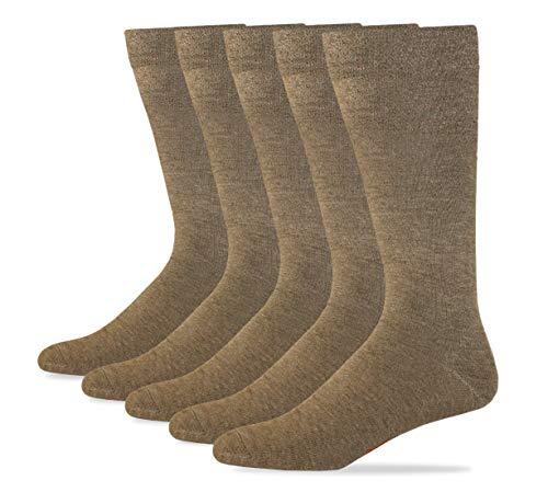 Dockers Men's Classics Dress Flat Knit Crew Socks Multipacks, Khaki, Shoe 6-12 Size: 10-13 (Socks Dress Tan)