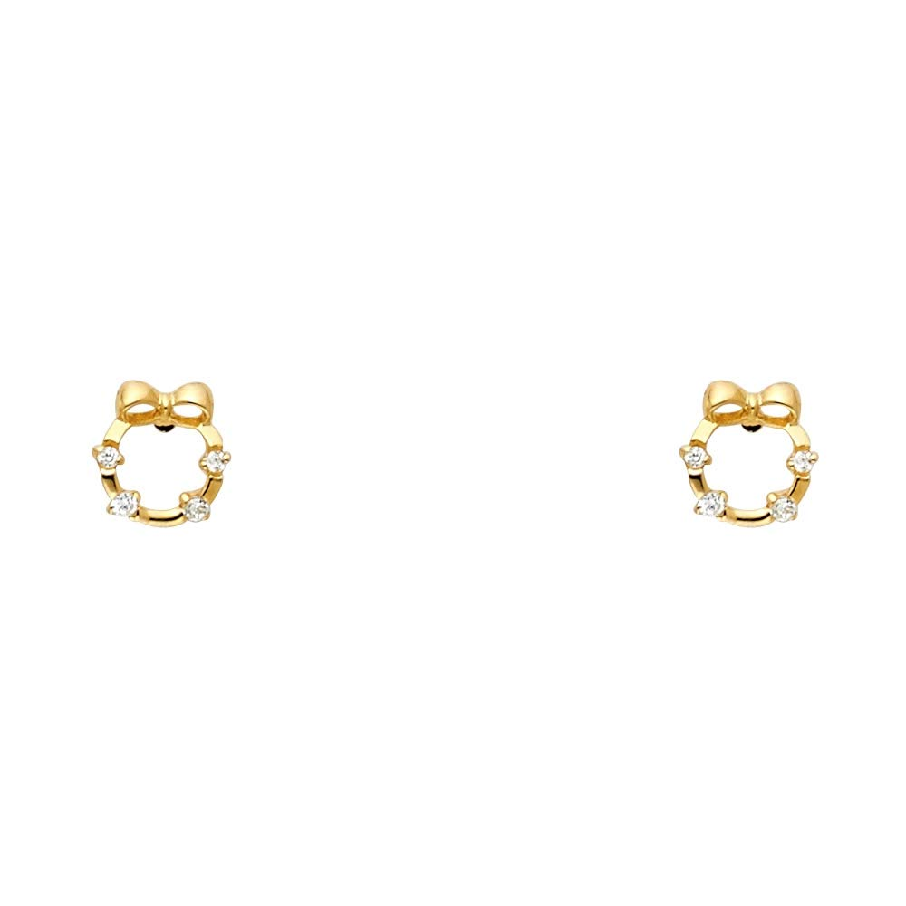 Wellingsale 14K Yellow Gold Polished Wreath With Bowtie Stud Earrings With Screw Back