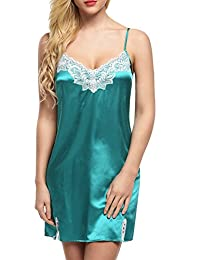 Ekouaer Women's Satin Sleepwear Lace Trim Slip Chemise Nightgown 3XS-M