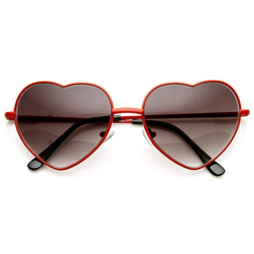 AStyles - Vintage Retro Fashion Lolita Metal Heart Shaped Aviator Metal Frame Sunglasses (Red, - Glasses Shaped Lolita Heart