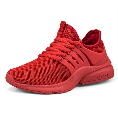 Customized Basketball Shoes - domirica Boys Fashion Sneakers Boys Basketball Shoes Lace Up Training Shoes Red 5.5 Big Kid