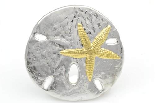 Handmade Solid Sterling Silver Sand Dollar Shell Pendant with Gold Plated Starfish with Hidden Bail - Hidden Bail Pendant