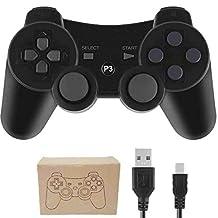 Kepisa Control Inalámbrico Bluetooth Controlador con Cable USB para Playstation 3 PS3 Doble vibración Mando (Black)