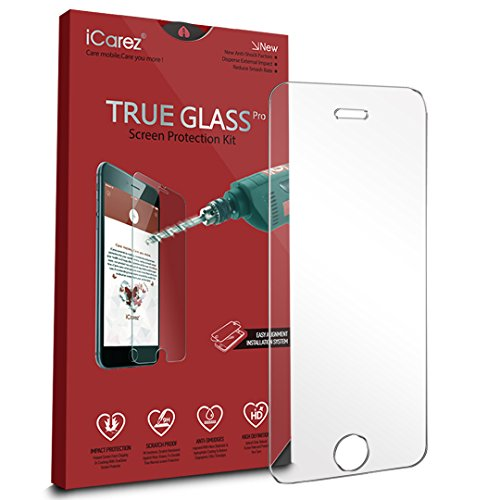 iCarez [Tempered Glass] Screen Protector for iPhone SE/ iPhone 5S / 5C [1-Pack, 9H, 0.33MM, 2.5D] - Retail Packaging