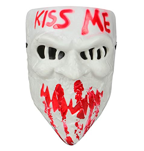 Gmasking 2018 PVC Halloween Election Horror New Year Kiss Me Cosplay Mask Costume Props (White) -