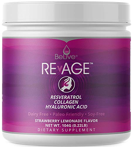 Hydrolyzed Collagen Peptides Powder with Resveratrol, Hyaluronic Acid, Vitaberry (Patented Ingredients) Anti Aging Supplement | Keto Friendly | Strawberry Lemonade Flavor For Sale