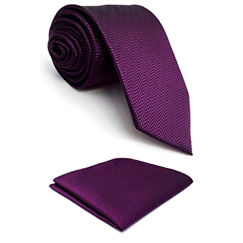 S&W SHLAX&WING Mens Tie Set Extra Long Necktie with Pocket Square Solid Color 09 ()