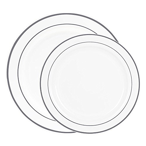 60 Heavyweight White with Silver Rim Plastic Plates: 30 Dinner Plates and 30 Salad Plates by Select Settings