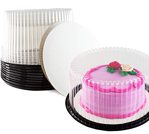 Plastic Cake Container & Board Set By Chefible: Extra-Strong Transparent Round 10
