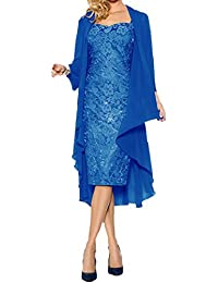 Womens Formal Two Pieces Mother Dresses With Wrap Knee-Length Lace Dress D58