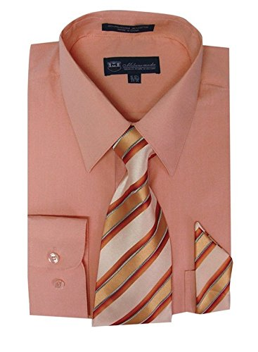 Milano Moda Men's Long Sleeve Dress Shirt With Matching Tie And Handkie SG21A-Peach-18-18 1/2-36-37]()