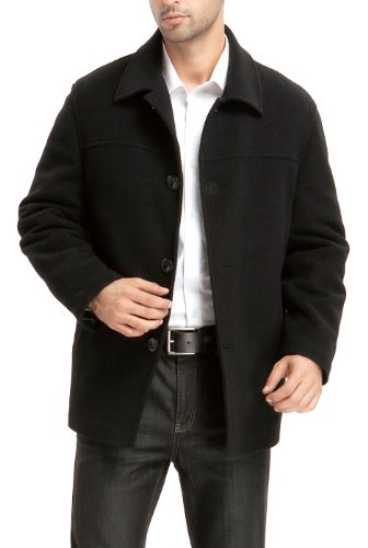 BGSD Men's 'Matthew' Wool Blend Car Coat - Black 2XL by BGSD