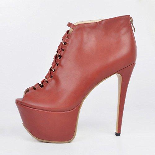 toe Parti Zipper haut plate Brown Handmade forme Chaussures Peep talon Bottines du Chaussures Femmes brown Kolnoo wAI7BB
