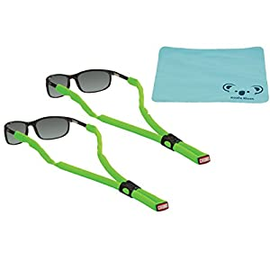 Chums Classic Glassfloats Floating Eyewear Retainer Sunglass Strap | Eyeglass & Glasses Float | Water Sports Holder Keeper Lanyard | 2pk Bundle + Cloth, Neon Green