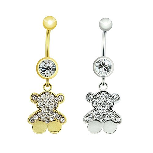 Gem Paved Teddy Bear Charm Dangle 316L Surgical Steel Freedom Fashion Navel Ring (Sold Individually) (14GA, 3/8