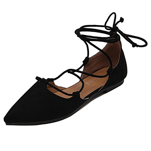 Partito Nero Donna Cinturino Scarpe Traspirante Minetom Piatto Dolce Ragazza Scarpe Con Lacci Danza Elegante Stile Estate Balletto Caviglia SqUTaFH