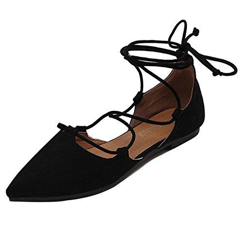 Verano Lace Zapatos Pisos Para Negro Puntiagudo Minetom Cabeza Correas Casual Primavera Cruzadas o Up Mujeres Respirable Moda Estilo Oto 7qwvYqZHf