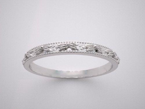 Amazon 14K White Gold Antique Style Wedding Ring Band Jewelry
