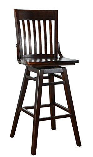 Beechwood Mountain BSD-142BSW-W Solid Beech Wood Swivel Bar Stool in Walnut for Kitchen and dining
