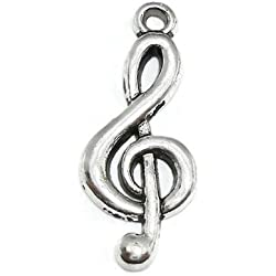 Y&Y Star 25x10mm G Clef Symbol Music Note Charms Pendant 50pcs for Crafting,Jewelry Making Accessory (Music Note 50 silver)